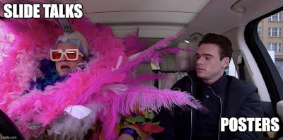 """Taron Egerton as flamboyant Elton John with caption """"Slide talks"""" with subdued man looking on with caption """"Posters""""."""