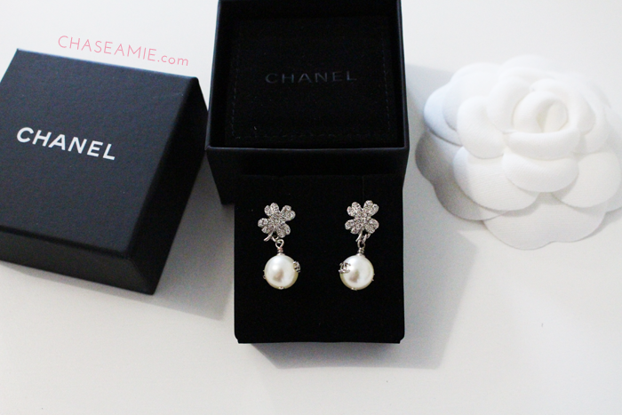 Chanel Pearl and Clover Drop Earrings