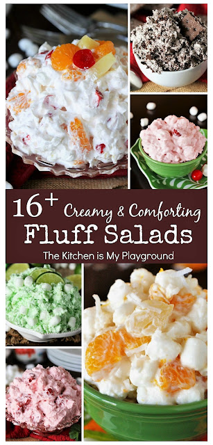 16+ Creamy & Comforting Fluff Salads ~ We all know and love fluff salads! Check out this collection of favorite fluff salad recipes for loads of the creamy comfort stuff. They're perfect for potlucks, holiday meals, or any everyday dinner. #fluffsalads  www.thekitchenismyplayground.com