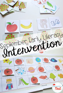 Intervention activities for early literacy- September Activities and primary resources plus three FREEBIES- fun ELA, math, and social studies activities for students during the month of September