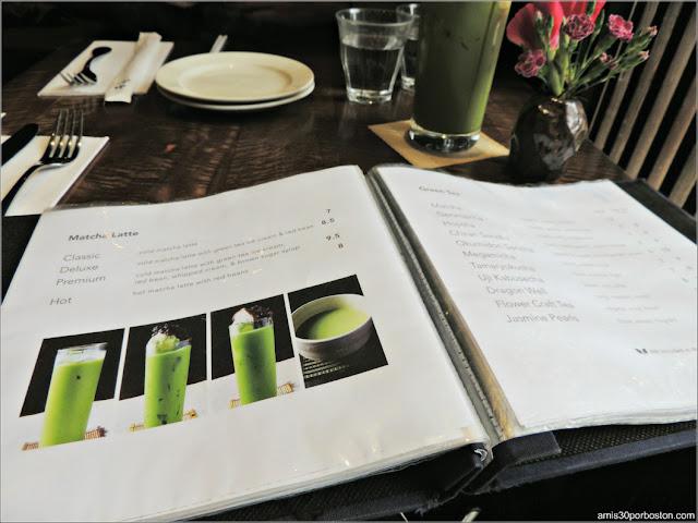 Carta de Matcha Latte de Cha-An Teahouse en Nueva York