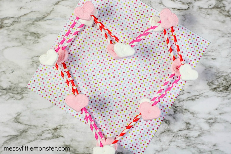 Valentine STEM challenge - build a 3D heart from marshmallows and straws