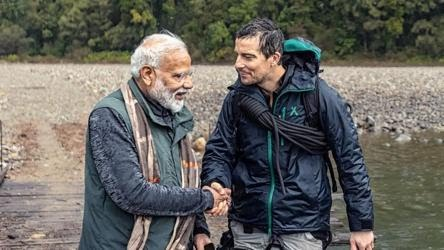 PM Narendra Modi and Bear Grylls in a still from the Man vs Wild special episode