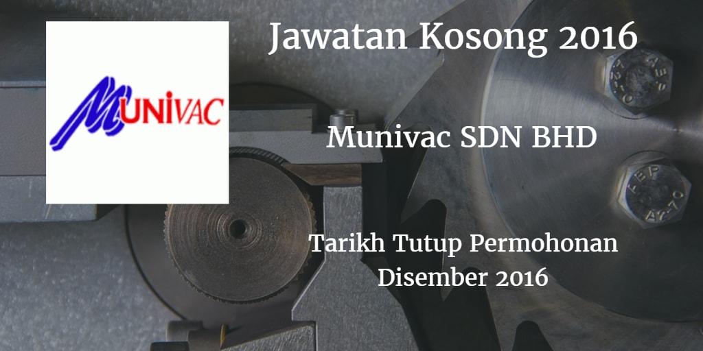 Jawatan Kosong Munivac SDN BHD Disember 2016