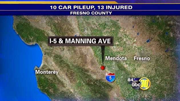 12 vehicle crash pileup i-5 freeway mendota fresno county manning avenue