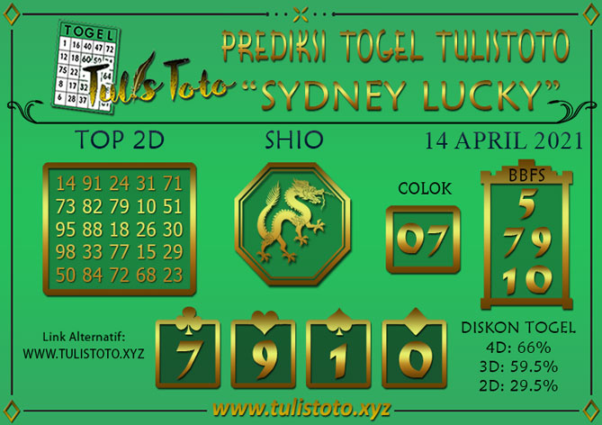 Prediksi Togel SYDNEY LUCKY TODAY TULISTOTO 14 APRIL 2021