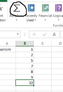 MS Excel AutoSum formula