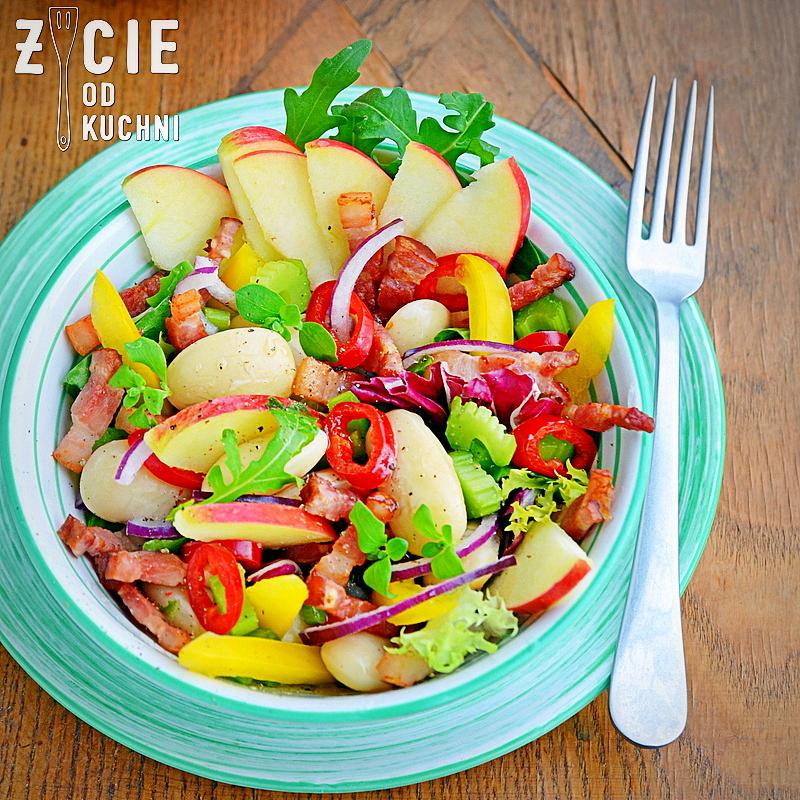 salatka z jablkiem, fasola piekny jas,