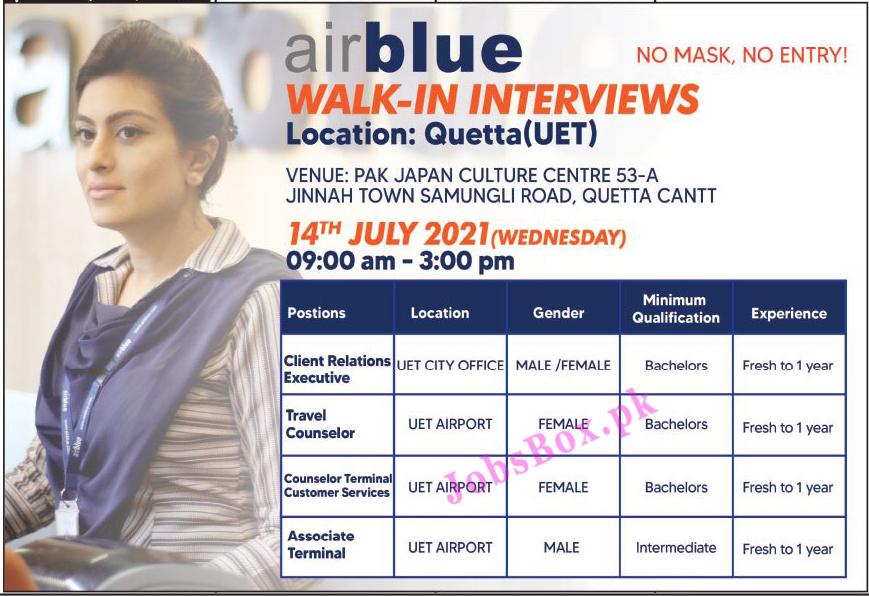 Airblue Quetta Jobs 2021 – Male & Female Staff Required