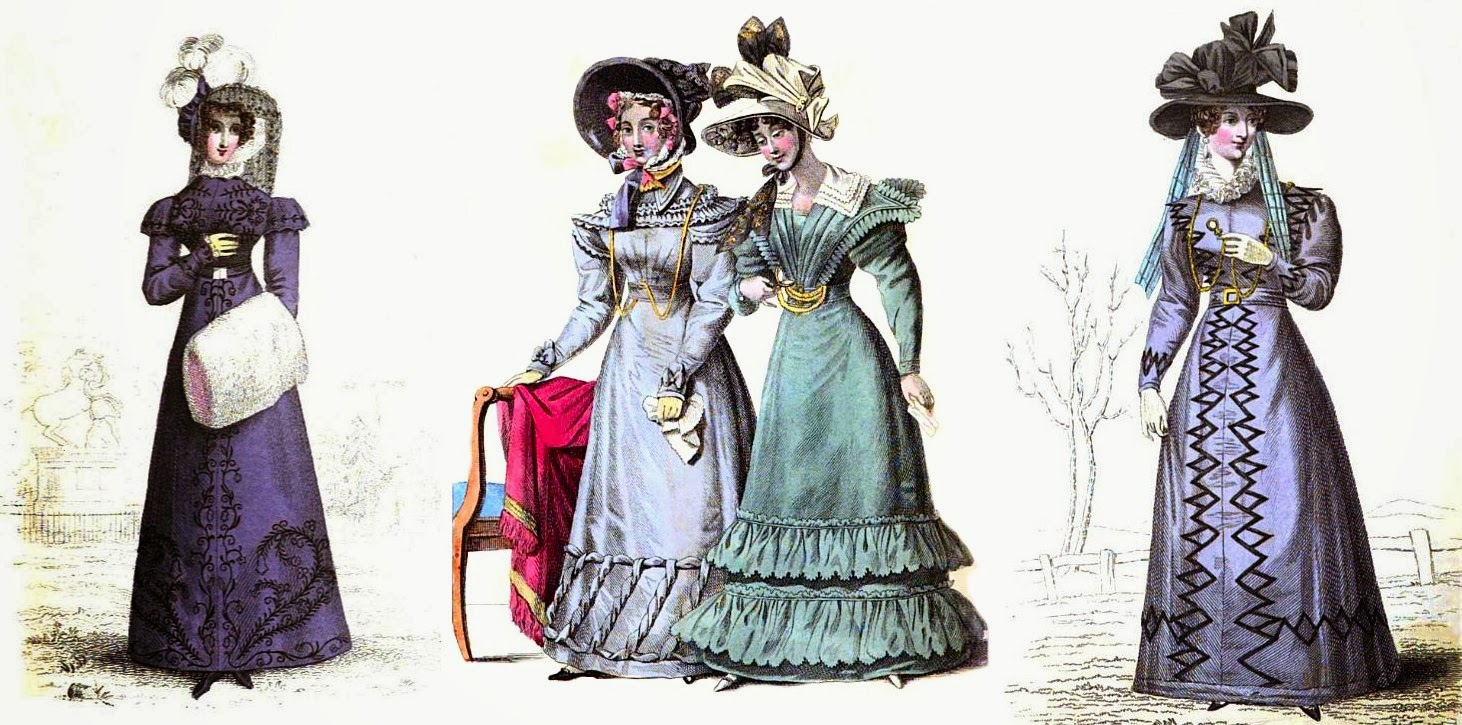 Walking dresses in the reign of George IV  from La Belle Assemblée (1823 and 1827)