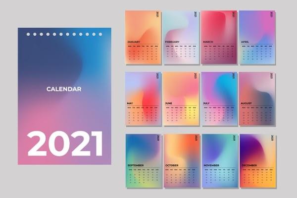 Plantilla de calendario 2021 en degradado