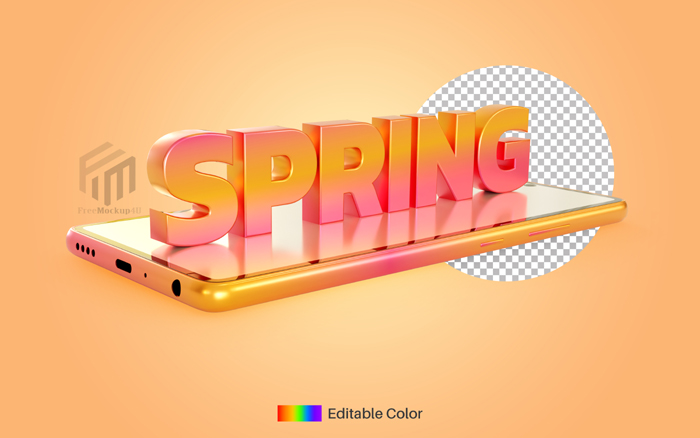 Spring Text Style Smartphone 3D Rendering