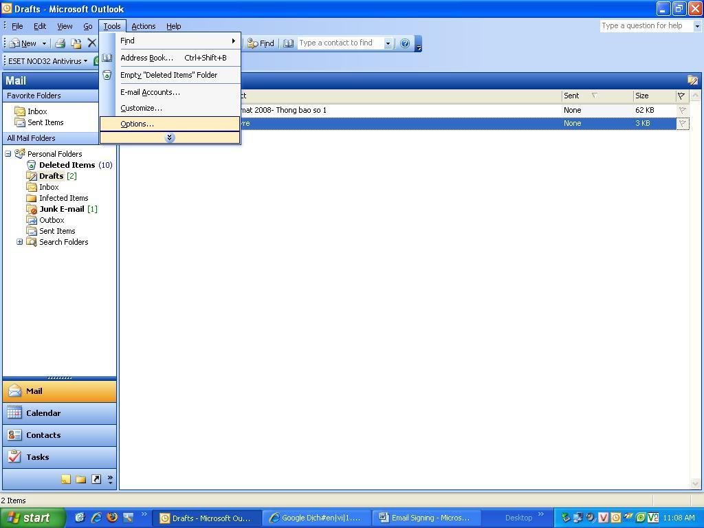 Hướng dẫn sử dụng chữ ký điện tử trên Micorsoft Outlook 2003