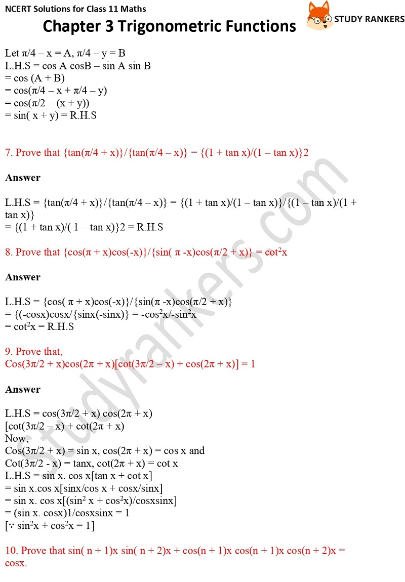 NCERT Solutions for Class 11 Maths Chapter 3 Trigonometric Functions 9