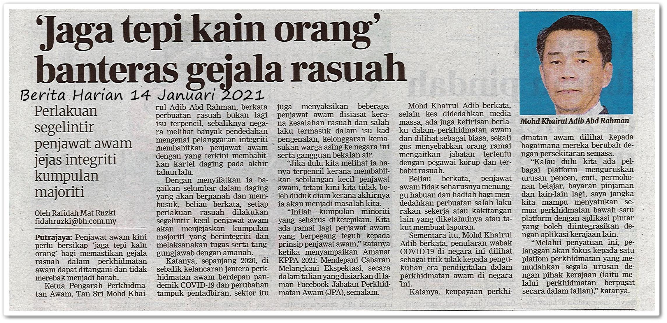 'Jaga tepi kain orang' banteras gejala rasuah - Keratan akhbar Berita Harian 14 Januari 2021