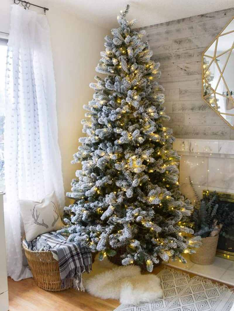 Best Flocked Christmas Tree Decoration Idea in 2019
