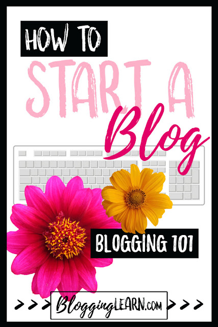 Pink and Yellow flowers over a computer keyboard How to Start a Blog Text Overlay
