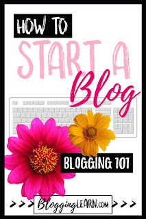 A pink and yellow flower on top a  white computer keyboard with How To in white text on black rectangle, start a blog in pink text and white text on black rectangle: Blogging 101