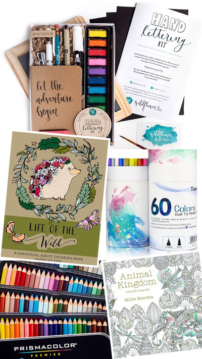 Hand Lettering Brush Pens and Adult Coloring Books