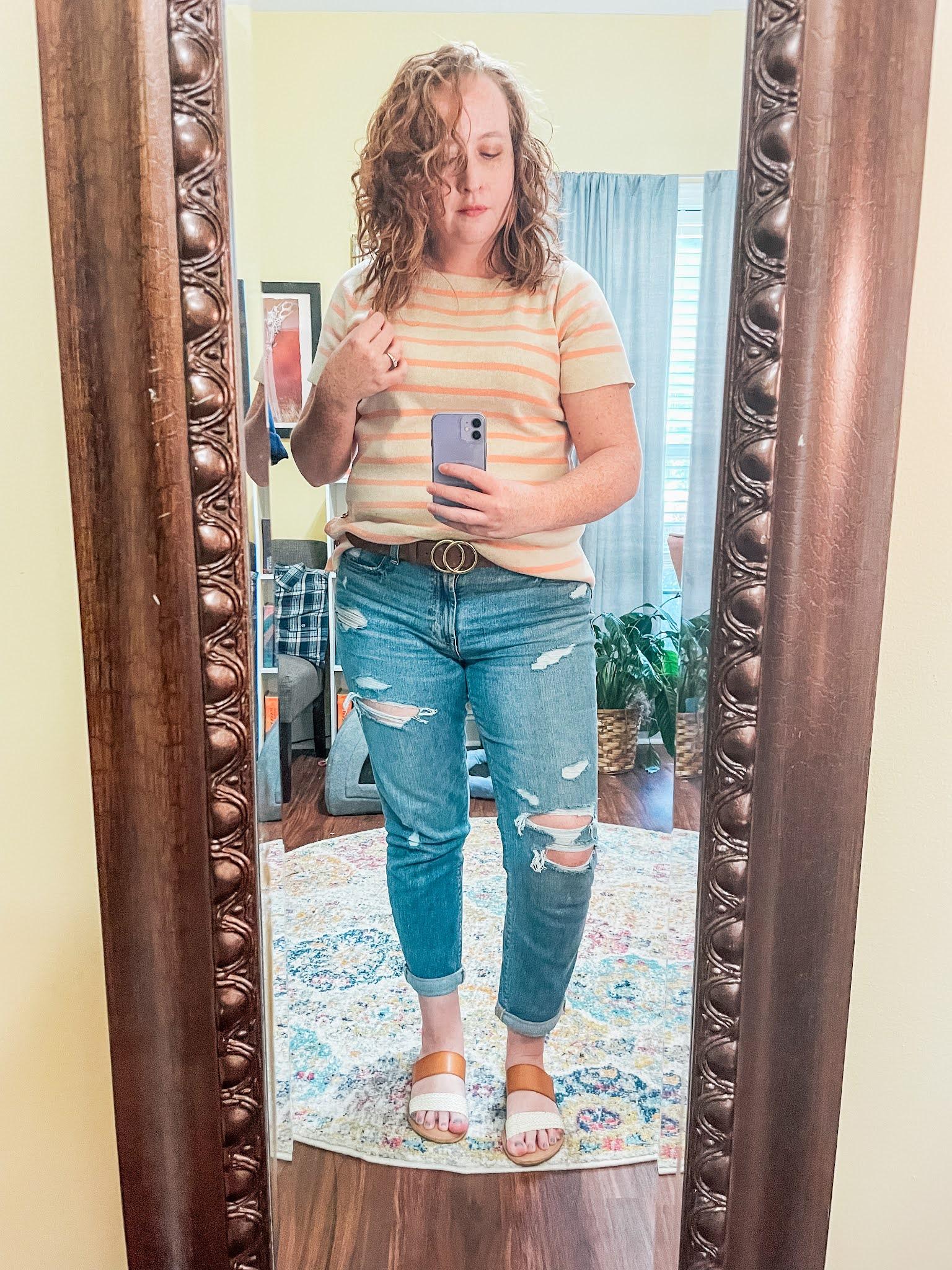 cream-peach-striped-short-sleeved-sweater