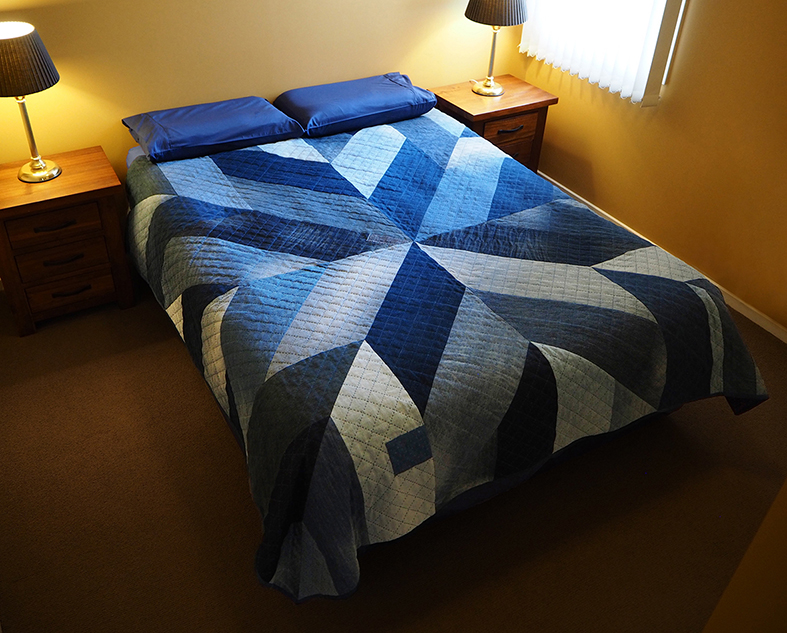 Decorating with the Blue Giant upcycled jeans quilt pattern