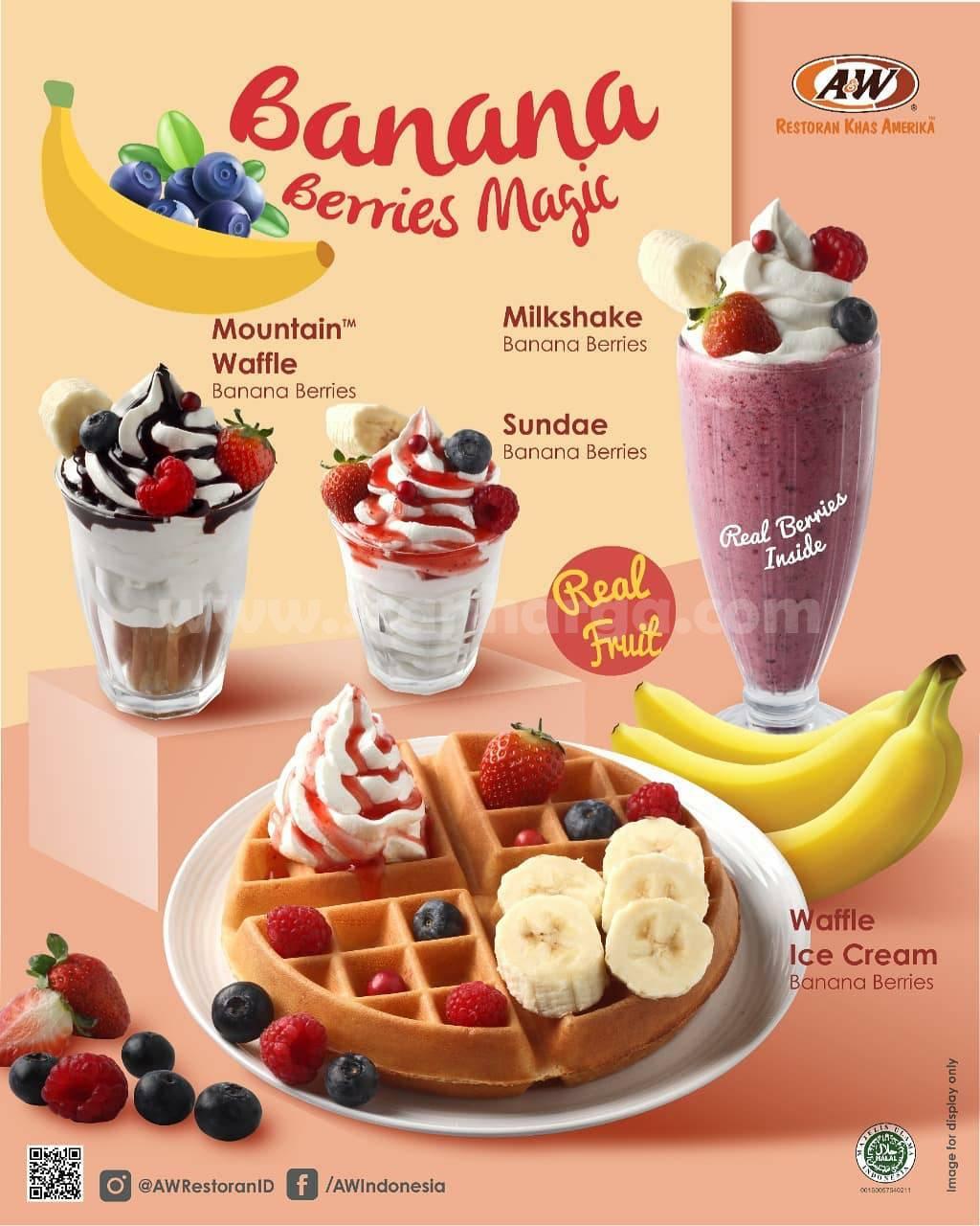 A&W Banana Berries Magic Menu BARU! Harga mulai Rp 16.500
