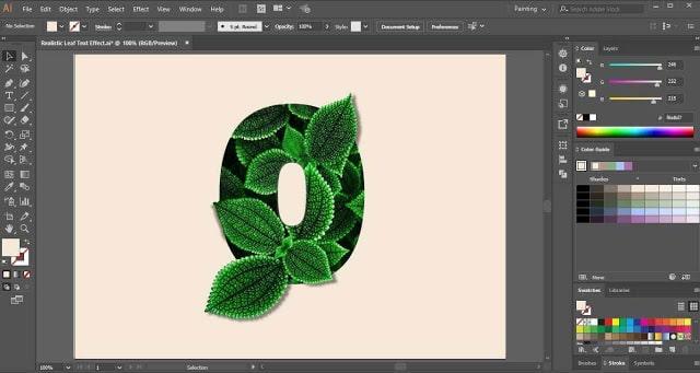 Leaf Text Effect in Adobe Illustrator