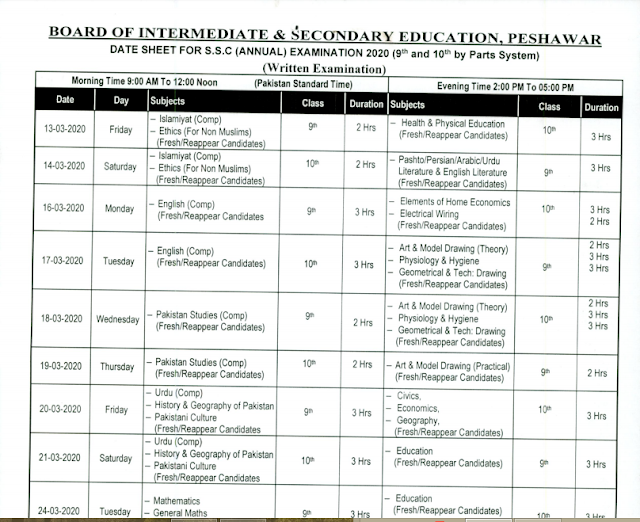 Bise Peshawar has Announced Datesheet for SSC Annual Exam 2020(9th and 10th)