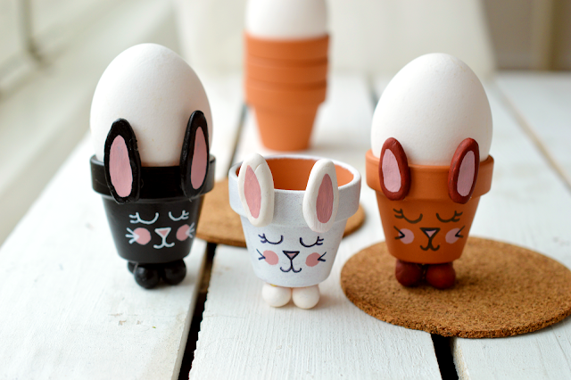 Three DIY Bunny Egg Cup made from a mini planter by Motte's blog