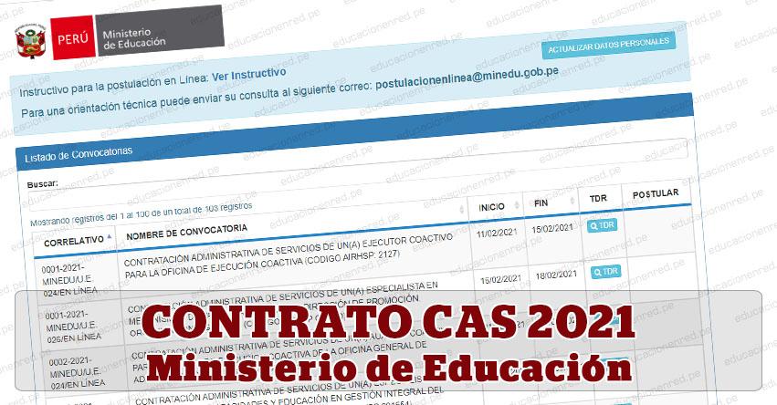 MINEDU: Convocatoria CAS FEBRERO 2021 - Más de 100 Puestos de Trabajo en el Ministerio de Educación - www.minedu.gob.pe