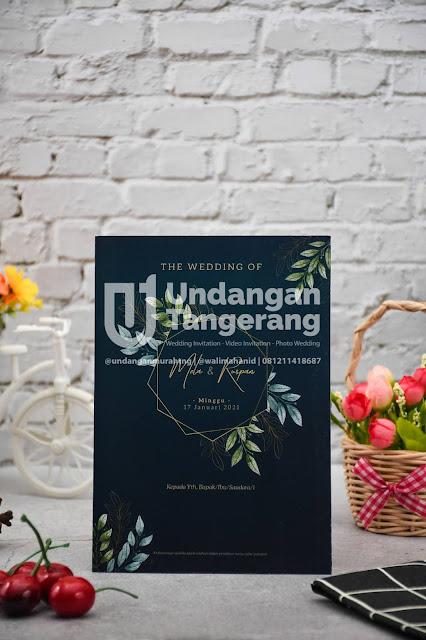 Undangan Pernikahan Minimalis Warna Biru dan Tema Florist - Walimahanid | 0812-1141-8687