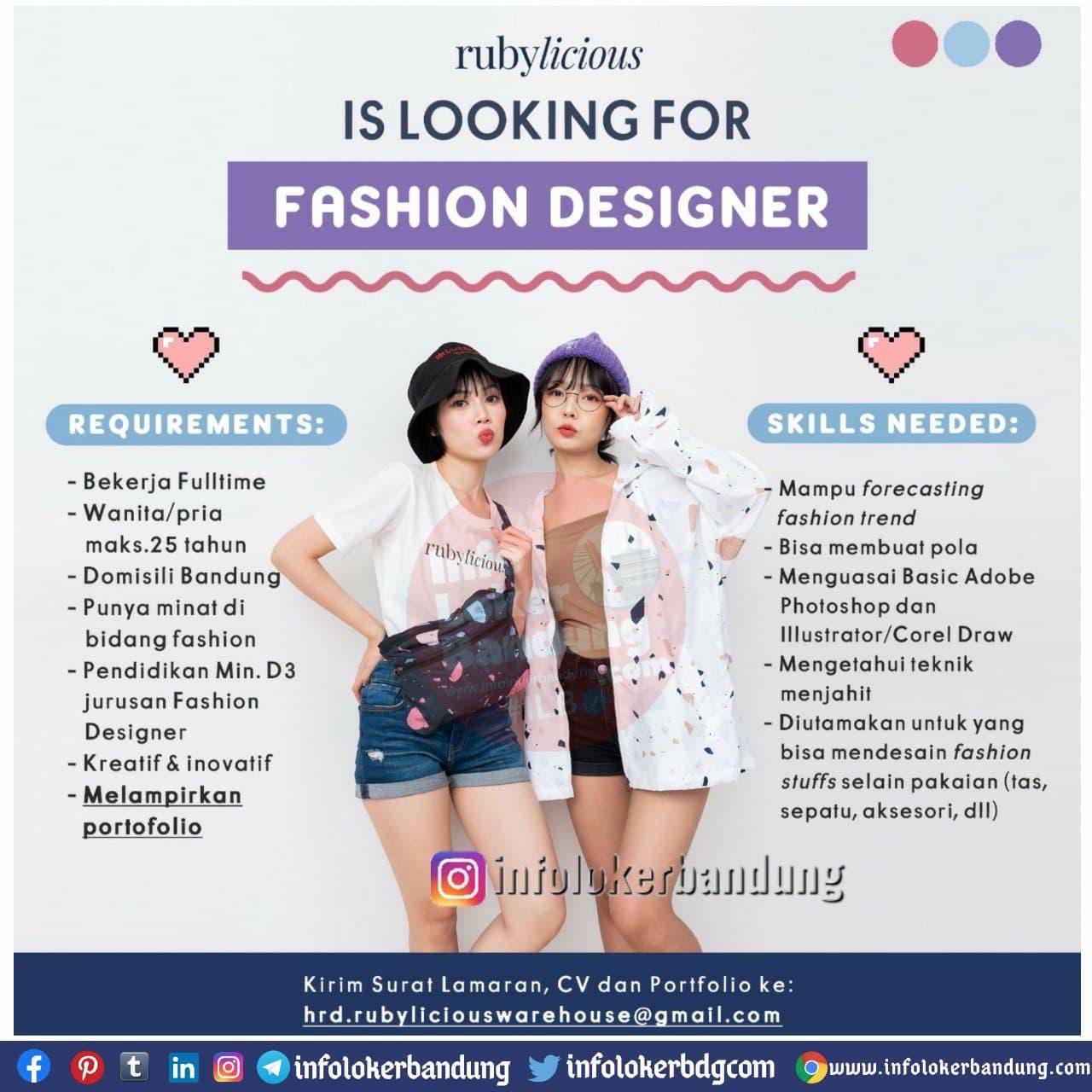 Lowongan Kerja Fashion Designer Rubylicious Bandung Desember 2020