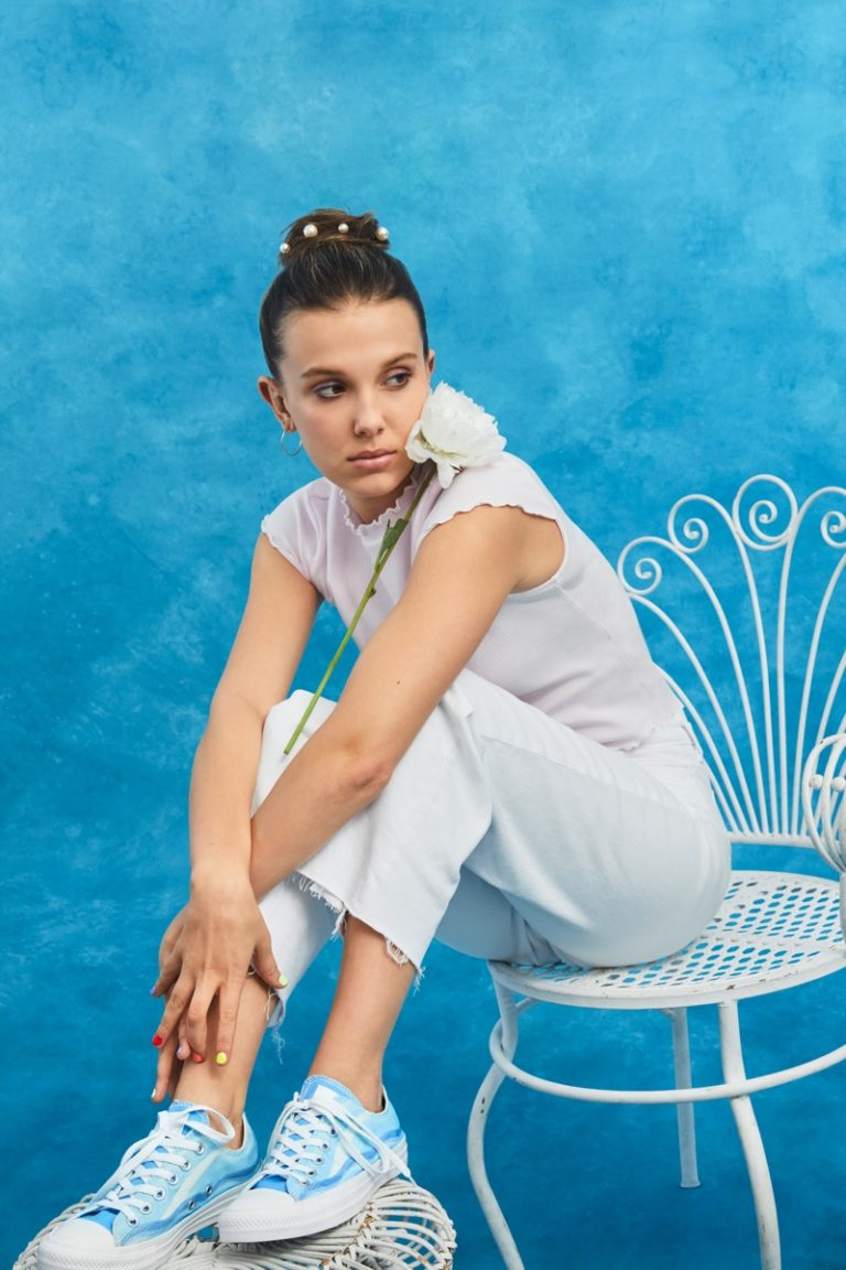 Millie Bobby Brown poses with Converse sneaker collaboration