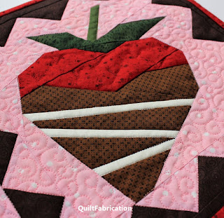 CHOCOLATE DIPPED STRAWBERRIES-CHOCOLATE COVERED STRAWBERRIES-QUILT PATTERN-TABLE RUNNER-PAPER PIECING