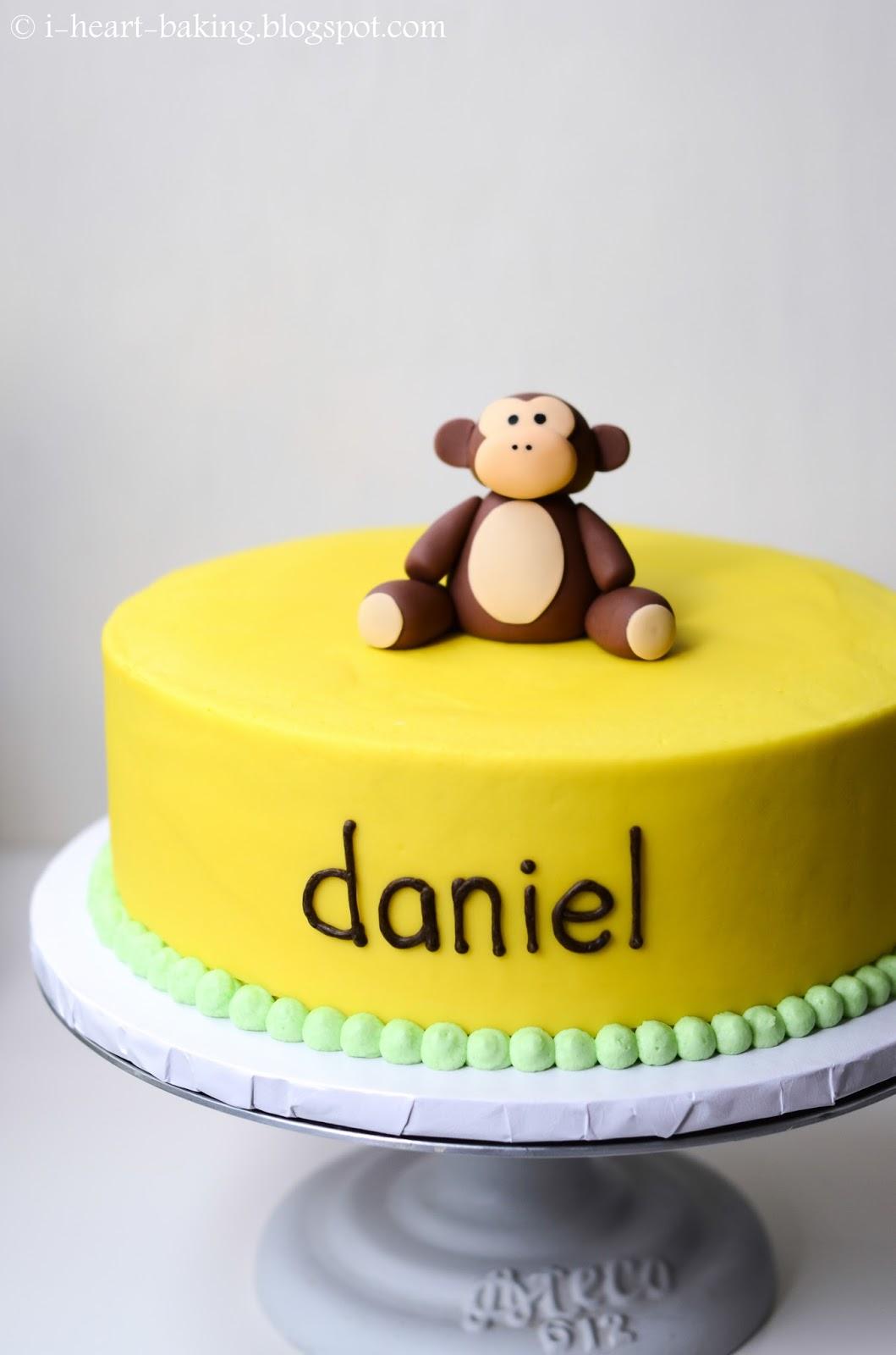 ... !: banana cream birthday cake with handmade fondant monkey topper