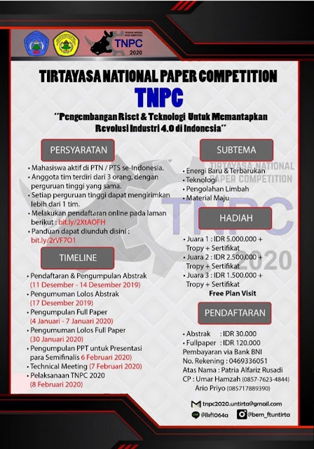 TIRTAYASA NATIONAL PAPER COMPETITION 2020