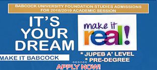 Babcock University JUPEB Pre-Degree (Foundation) Studies Admission Form - 2018/2019