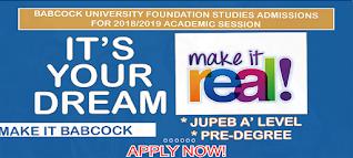 Babcock University Foundation (JUPEB/Pre-Degree) Form 2021/2022