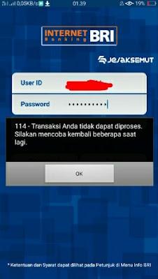 kode error 114 internet banking bri