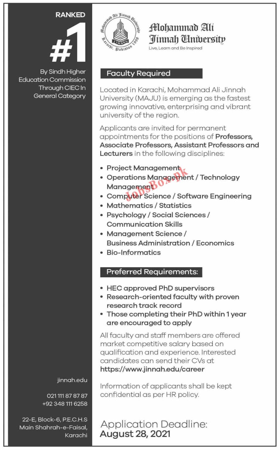 www.jinnah.edu Jobs 2021 - MAJU Muhammad Ali Jinnah University Jobs 2021 in Pakistan