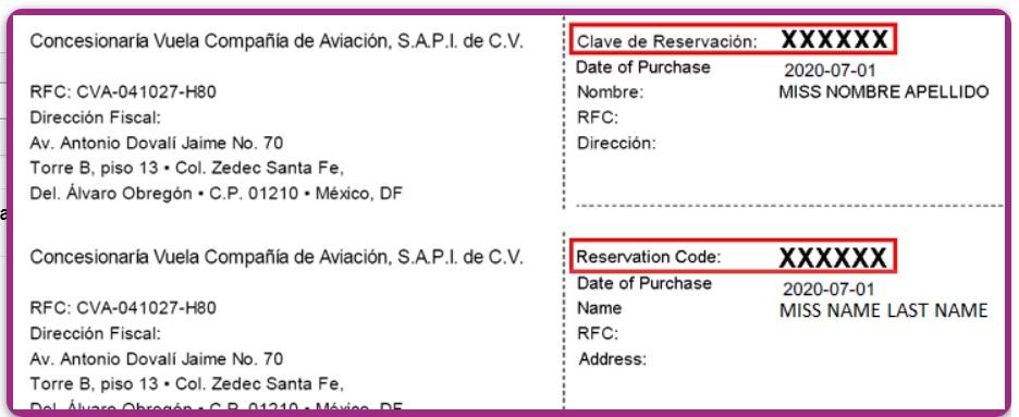 Clave de Reserva de Boleto de Avion