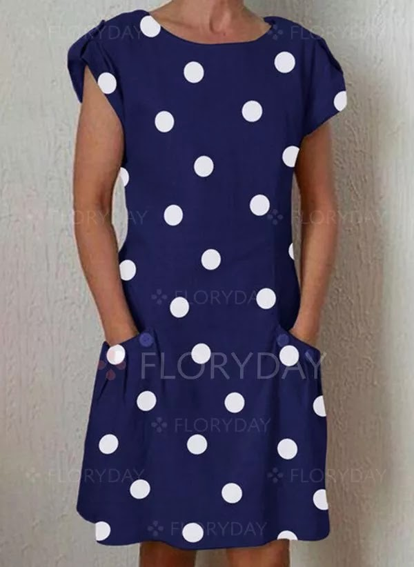 Short Sleeve Knee-Length Shift Dress