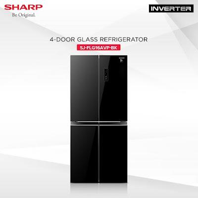 Sharp 4D Glass French door Inverter Refrigerator (SJ-FLG16AVP-BK)