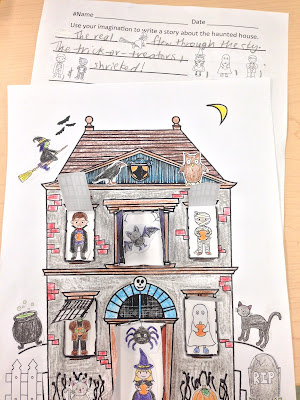 Pop-Up Haunted House Craftivity and Spooky Story Writing Paper
