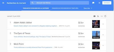 Google Recherche et les recherches du moment