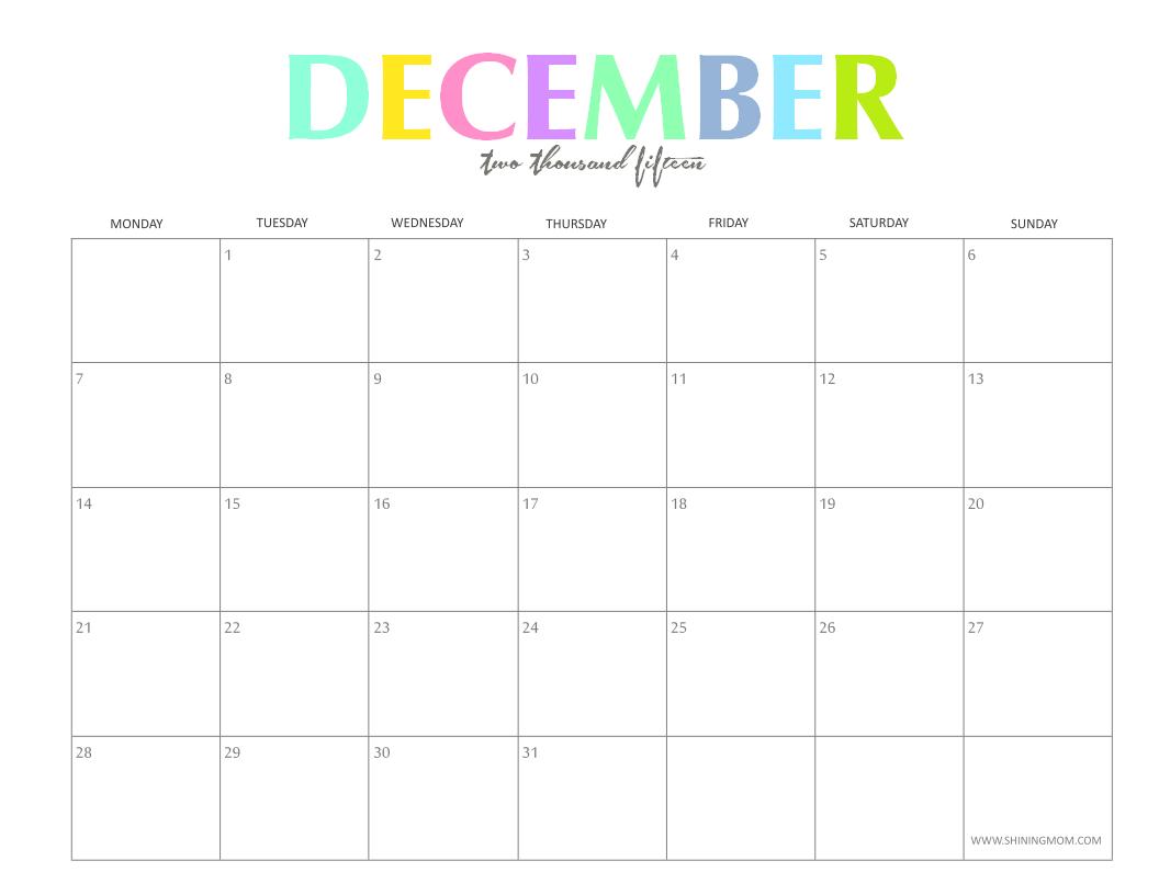 Free Printable Calendar 2018 Free Printable Calendar December