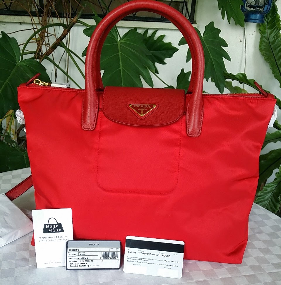 89ed8fcf87cc PRADA BN2541 Tessuto Saffian Tote - Color: Rosso (Red) Size: 39 x 24 x 17cm  ~ SOLD with ♥♥ to Rosemarie ~ ♥♥1st time customer♥♥