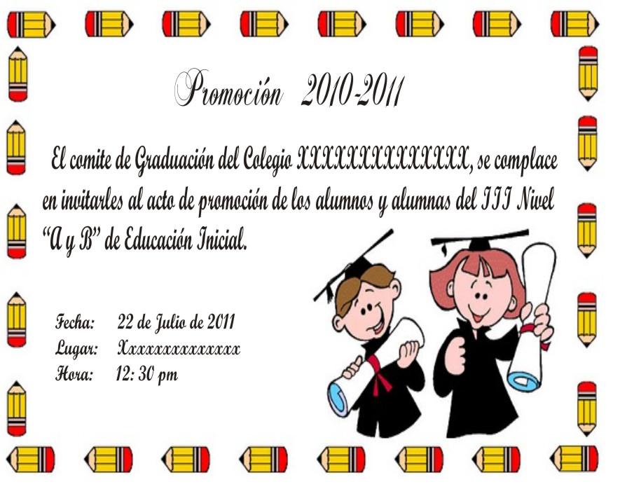 Tarjetas De Invitación De Graduación Para Preescolar Imagui