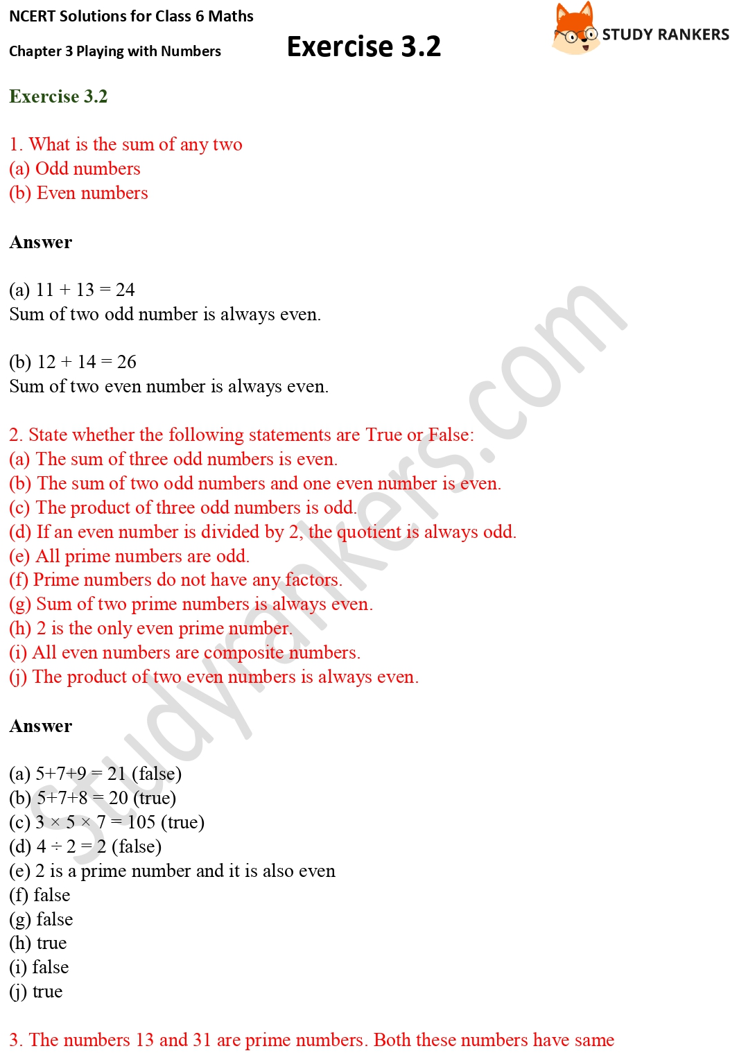 NCERT Solutions for Class 6 Maths Chapter 3 Playing with Numbers Exercise 3.2 Part 1