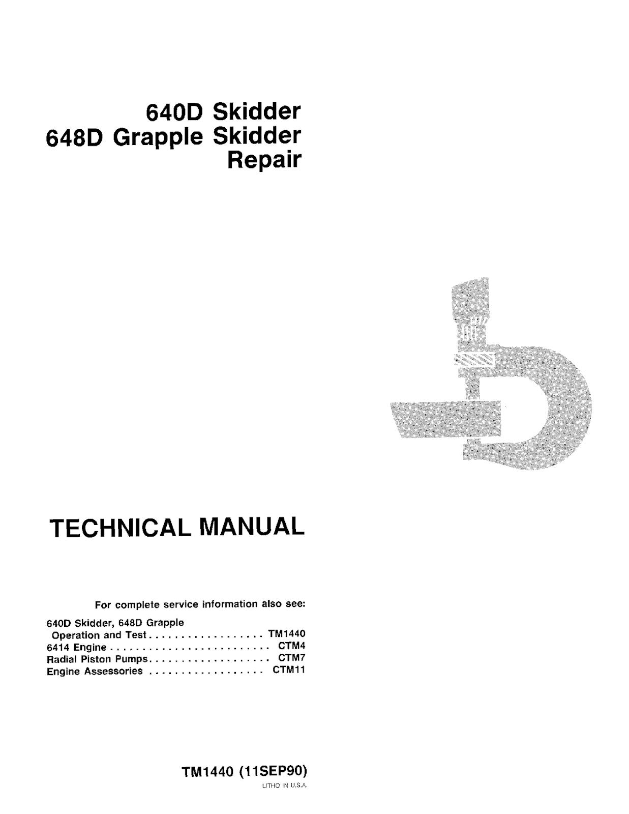 John Deere 640d Skidder And 648d Grapple Skidder Technical